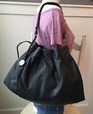 FURLA Black Leather Drawstring Pleated Shoulder Bag Handbag Hobo EXCELLENT!