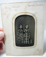 NICE - Tintype Photo - 2 Young Girls - IDENTIFIED - in Plaid Dresses  BFFs 1870s