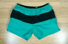 Catalina Vtg Swim Trunks Suit Shorts L Teal Black Color Block Sailing Surf