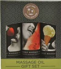 EDIBLE MASSAGE OIL GIFT SET BOX STRAWBERRY VANILLA AND WATERMELON 2 OZ LUBRICANT