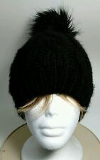 Old Navy Black Knit Cap Winter Travel Snow Ski Warm Hat Beanie Skull Cap Pom OS
