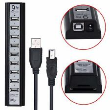 2 in 1 High Speed Convenient 9 Port LED USB 2.0 Power HUB With SD Card Reader