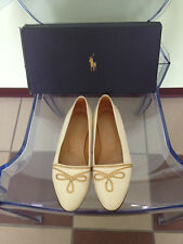 Women's Ralph Lauren Ivory Leather Shoes With Gold Trim Embroidery Size 7.5B