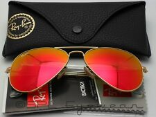 Ray Ban Aviator Flash Lenses RB3025 112/69 Gold Frame Orange Mirror Large 62 mm