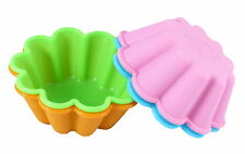 "Bakerpan Silicone Mini Cake Pan Mold 3 1/2"" Round Colored Large Muffin Set of 4"