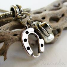 Cowboy Hat And Lucky Horseshoe European Charm Bead For European Charm Bracelets