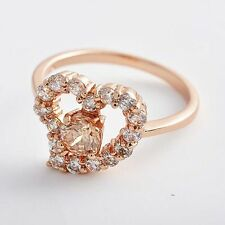 Womens Ring Champagne Crystal clear CZ Heart Engagement Wedding ,Size 7#