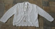 WHITE LACE KNIT PATTERN SHRUG TIE FASTEN BOLERO TOP LONG SLEEVES SIZE 14 BNWT