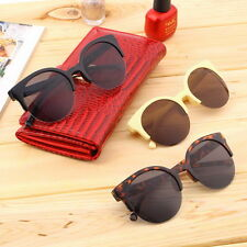 Retro Black Lens Vintage Men Women Round Frame Sunglasses Glasses Eyewear UF