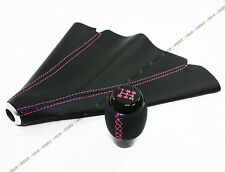 M10 X 1.25 LEATHER 5 SPEED SHIFTER KNOB+ SHIFT BOOT W/ PINK STITCHING FOR MAZDA