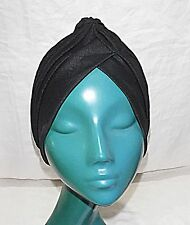 BLACK SOFT PLEATED TURBAN O/S HAT GREAT FOR A BAD HAIR DAY 'FRENCH CHIC'