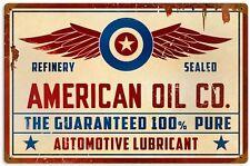 Vintage Schild American Oil Co. Gasoline Tankstelle Zapfsäule Werbung