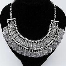 Halskette Silber Damen Collier Statement Kette Vintage Ethno Bohemian Schmuck