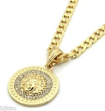 "Mens Medallion Patern Medusa Gold Greek 24"" Cuban Curb Chain Pendant Necklace"