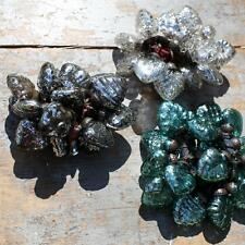 18 Mini Dark Silver Heart Glass Baubles Aneska by Nkuku, Christmas Decorations