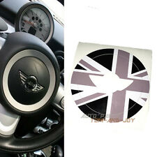 Black Union Jack Sticker Steering Wheel Central Decal For Mini Cooper Clubman