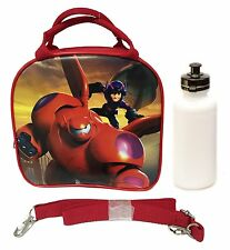 Disney Big Hero 6 Lunch Box Carry Bag w/ Shoulder Strap & Water Bottle - Red