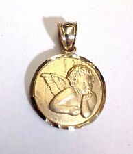 "Sweet! .80x.60"" Thinking Angel Solid 14K Yellow Gold Medallion Pendant 