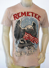 NEW REMETEE by AFFLICTION mens WINGS OF LIBERTY ss graphic TEE dk. brown *MEDIUM