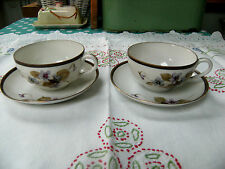 Antique Noritake Pair of Hand Painted Violets on Tea/Coffee Cups & Saucers