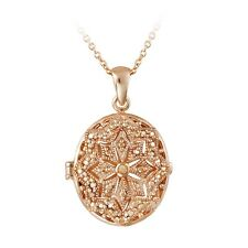 18K Rose Gold Plated Champagne Diamond Filigree Oval Locket Necklace