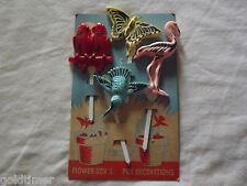 VINTAGE OLD 1960S BUTTERFLY PELICAN PARAKEET PLASTIC FLOWER BOX DECORATIONS NOS