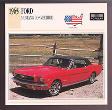 1965 Ford Mustang Red Muscle Car Photo Spec Sheet Info Stat ATLAS CARD