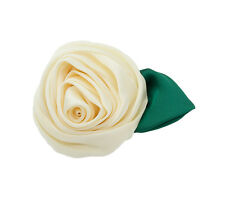 New 1950s Style Satin English Rose Hair Clip & Brooch,Wedding, Prom, Bridesmaid