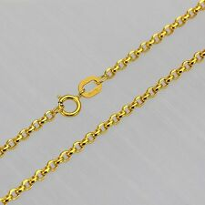 FINE 17 INCH Solid 18K Yellow Gold Necklace 2mm Rolo Link Chain Au750