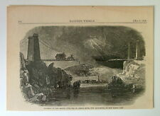 1858 HARPERS WEEKLY WOOD ENGRAVING PRINT ACCIDENT BRIDGE ST JOHNS RIVER