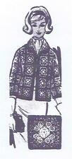 Crochet Granny Square Cardigan Jacket Sweater PATTERN 844 size 32-34 36-38 1960s
