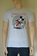 NEW Abercrombie & Fitch Mickey Mouse Christmas Graphic Tee T-Shirt light Grey L