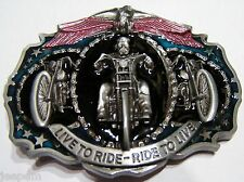 Live to ride Ride to Live Biker 3 Motorcycles Eagle Belt Buckle fix to own belt