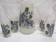Vintage Hand Painted FROSTED GLASS PITCHER & Set of 4 GLASSES Violets *