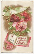 """""""With Best Wishes For Xmas"""" Roses, Book, Gold, Antique Christmas Postcard"""