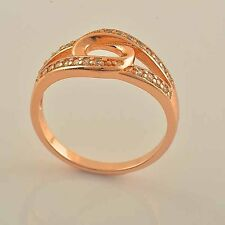 Women Unique 9K Rose Gold Filled Band Ring CZ Womens Ring,size 7