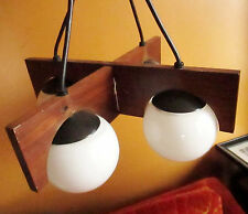 Vintage 60s 70s Modern Teak Wood Ceiling Mount Chandelier 4 Globe Lamp Light