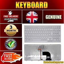 For Sony VAIO SVE1511P1EW Notebook Laptop Keyboard White with Frame Backlit Uk
