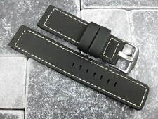 22mm Black PVC Composite Rubber Diver Strap Watch Band Seamaster Maratac White