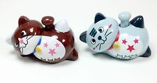 Solar Toy 1 Brown 1 Grey Smiling Happy Face Lucky Japanese Kitty Cat Waving Paw