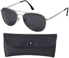 CHROME/SMOKE Aviator Sunglasses Air Force Style Polarized w/ Case - 58 MM 22009