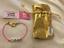 Victoria's Secret ❤️VS Bracelet Hot PINK Band Small w/ Gold Pouch Create Yours