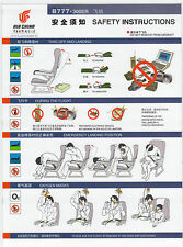Safety Card AirChina B777-300er Boeing 777 Sammlerstück TOP