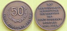 MEDAGLIA GETTONE 1918-- 1968 ISTITUZIONE DEL SERVIZIO CONTI CORRENTI POSTALI 50°