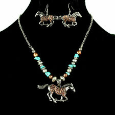 TURQUOISE BEAD BURNISHED SILVER WESTERN COWGIRL NECKLACE EARRINGS SET 120