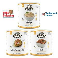 Augason Farms MEAT SUBSTITUTE KIT, Beef, Chicken & Bacon Bits 3 x #10 Can