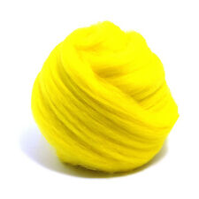 100g DYED MERINO WOOL TOP JONQUIL YELLOW DREADS 64's SPINNING FELTING ROVING