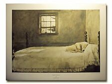 Master Bedroom Dog On Bed By Andrew Wyeth sleeping dog on a bed poster art print