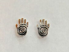 Pair Of Sterling Silver  925  Hand And Spiral  Ear Studs  !!      Brand  New  !!