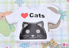 ☆╮Cool Cat╭☆【PR-25】Blythe Pullip Doll Printing Tee(Love Cats)# White